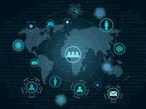 Bakgrund för teknologi för anslutning för globalt nätverk Arkivbild