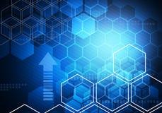 Bakgrund för teknologi för affär för Digital begreppssexhörning Arkivfoton