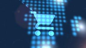 Bakgrund för teknologi för världskarta för animering för symbol för shoppingvagn blå digital royaltyfri illustrationer