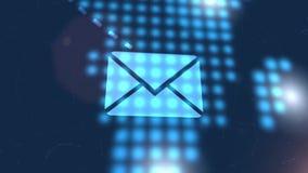 Bakgrund för teknologi för världskarta för blått för animering för symbol för bokstav för Emailadresspost digital stock illustrationer
