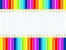 Bakgrund för text En uppsättning av kulöra färger för blyertspennor allra av regnbågen vektor stock illustrationer