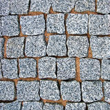 Bakgrund för textur för granitkullerstentrottoar Royaltyfria Bilder