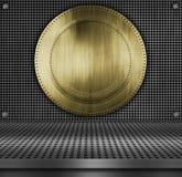 Bakgrund för textur för plattametall guld- Fotografering för Bildbyråer