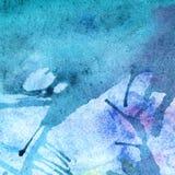 Bakgrund för textur för vattenfärgvinterturkos cyan abstrakt Royaltyfria Bilder