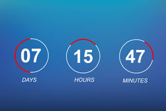 Bakgrund för tidmätare för digital klocka för mall för lägenhet för nedräkningwebbplatsvektor för att komma snart eller under kon Royaltyfria Bilder