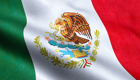 Bakgrund för tyg för textur för Mexico flagga vinkande royaltyfri fotografi