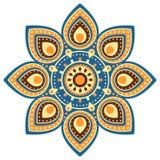 Bakgrund för Ugadi mandalablomma stock illustrationer