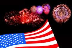 Bakgrund för USA flaggafyrverkeri Royaltyfri Foto