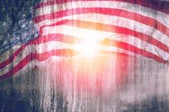 Bakgrund för USA flaggagrunge, för 4th juli, minnesdagen eller veteran Royaltyfri Fotografi