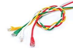 Bakgrund för USB kabelvit Arkivbild