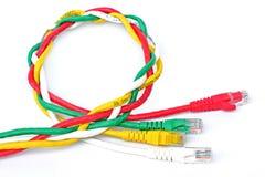 Bakgrund för USB kabelvit Arkivbilder