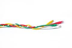 Bakgrund för USB kabelvit Fotografering för Bildbyråer