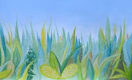 Bakgrund för utdragen vattenfärg för hand botanisk Blått och grönt gräs royaltyfri illustrationer