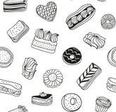 Bakgrund för utdragen vektor för hand svartvit med kakor, kakor och andra sötsaker efterrätter mönsan seamless stock illustrationer