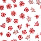 Bakgrund för utdragna blommor för hand sömlös vit stock illustrationer