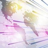 Bakgrund för världsteknologiöversikt royaltyfri illustrationer