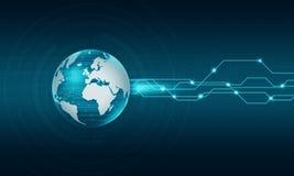 Bakgrund för världsteknologiinternetuppkoppling Arkivbilder