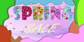 Bakgrund för vårförsäljningsaffisch med den härliga färgrika blomman Vektorillustrationmall _ wallpaper reklamblad inbjudan, royaltyfri illustrationer