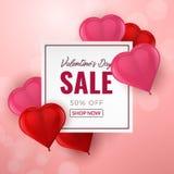 Bakgrund för valentindagförsäljning med röd och rosa hjärta formade ballonger 3d också vektor för coreldrawillustration royaltyfri illustrationer