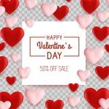 Bakgrund för valentindagförsäljningen med formad hjärta sväller också vektor för coreldrawillustration försäljning Royaltyfria Foton