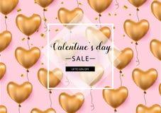 Bakgrund för valentindagförsäljningen med formad hjärta sväller också vektor för coreldrawillustration reklamblad inbjudan, affis Royaltyfria Bilder