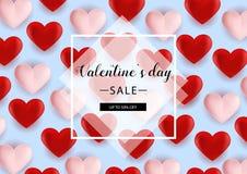 Bakgrund för valentindagförsäljningen med formad hjärta sväller också vektor för coreldrawillustration reklamblad inbjudan, affis Arkivbilder