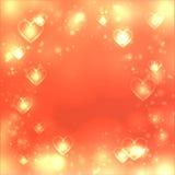 Bakgrund för valentindaghjärta, guld- bakgrund för förälskelse, utrymme för text royaltyfri illustrationer