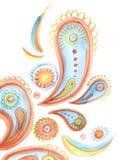 Bakgrund för vattenfärg för Paisley fantasi hand dragen Royaltyfri Foto
