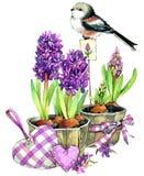 Bakgrund för vattenfärgfågel- och trädgårdblommor vektor illustrationer