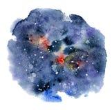 Bakgrund för vattenfärgnatthimmel, hand dragen akvarelltextur Arkivfoton