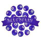 Bakgrund för vattenfärgtappningblåbär med bandet royaltyfri illustrationer
