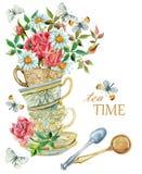Bakgrund för vattenfärgtekoppar med skeden, blommor och fjärilen royaltyfri illustrationer