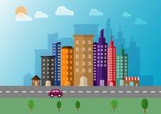 Bakgrund för vektor för Cityscapelandskaplägenhet Arkivfoto