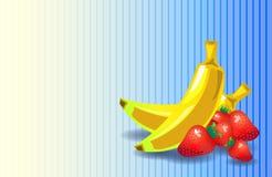 Bakgrund för vektor för jordgubbebananlägenhet Royaltyfri Foto
