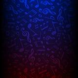 bakgrund för vektor för musikaliska anmärkningar för mörk färg Melodivektorillustration Klassisk musikmodelltapet Arkivfoto