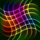 Bakgrund för vektor för neonregnbågevågor vektor illustrationer