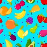 Bakgrund för vektor för tropiska frukter för sommar sömlös vektor illustrationer