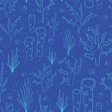 Bakgrund för vektor för korallrev blå sömlös Undervattens- modell med koraller, havsväxter, havsväxt, svamp, musslor, skal teckna vektor illustrationer