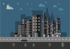 Bakgrund för vektor för nattcityscapelandskap Arkivbild