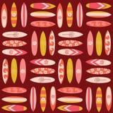 Bakgrund för vektor för surfareflicka sömlös Tappningsurfingbrädabakgrund i retro stil Illustration för lopp för sommarsportsemes royaltyfri illustrationer
