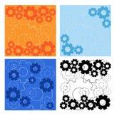 Bakgrund för vektorillustrationuppsättning med kugghjul i färger Royaltyfria Bilder