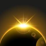 Bakgrund för vektorutrymme med resningsolen, jord, planet, soluppgång vektor illustrationer