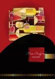 Bakgrund för vinlistan, stiliserade vinflaskor planlägger Royaltyfri Foto