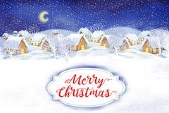 Bakgrund för vinterbylandskap Festmåltid av jul Royaltyfri Bild