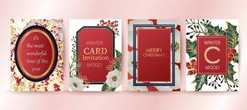Bakgrund för vinterferie, inbjudan Bröllopmodelldesign Glad jul och kort för lyckligt nytt år royaltyfri illustrationer