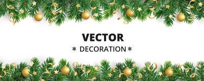 Bakgrund för vinterferie Kant med julgranfilialer Girland ram med hängande struntsaker, banderoller royaltyfri illustrationer