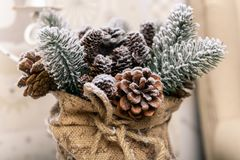 Bakgrund för vinterferier av sörjer kottar som pudras med konstgjord snö och den vita duniga sjalen Brunt för glad jul Royaltyfria Bilder
