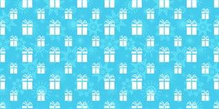 Bakgrund för vinterferier boxes den seamless gåvamodellen Upprepad textur med gåvasymboler och snöflingor Blått och stock illustrationer