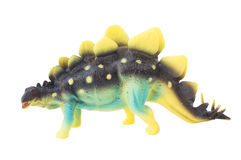 Bakgrund för vit för isolat för leksak för Stegosaurusdinosaurie plast- Arkivbild