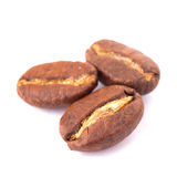Bakgrund för vit för kaffebönor Royaltyfri Fotografi